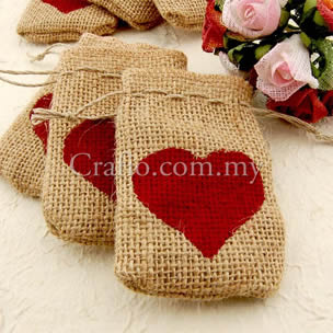 Burlap Bags with Painted Red Heart