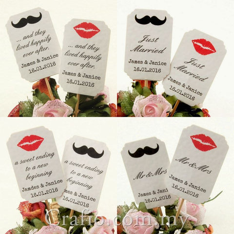 DIY Personalized Double Sided Lips & Mustache White Wedding Cupcake Toppers