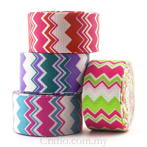 25 mm Zig Zag Stripe Printed Grosgrain Ribbon