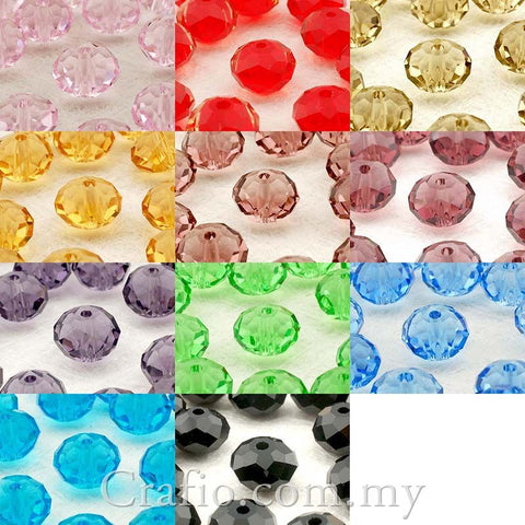 Rondelle Glass Beads 8mm