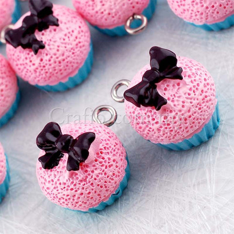 Bow Cupcake Resin Cabochon with Eye Bolt