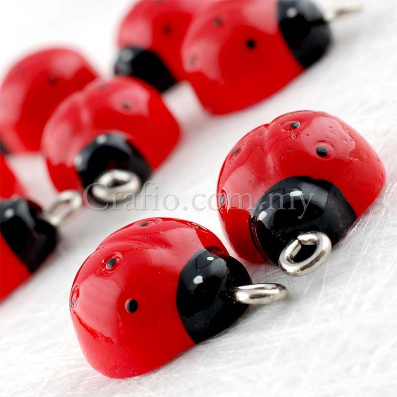 Ladybug Resin Cabochon with Eye Bolt