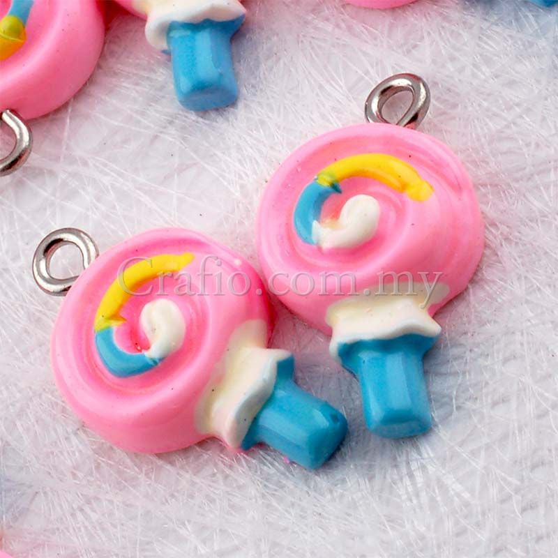 Lollipop Resin Cabochon with Eye Bolt