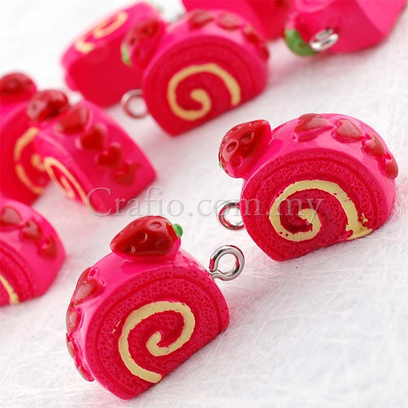 Swiss Roll Resin Cabochon with Eye Bolt