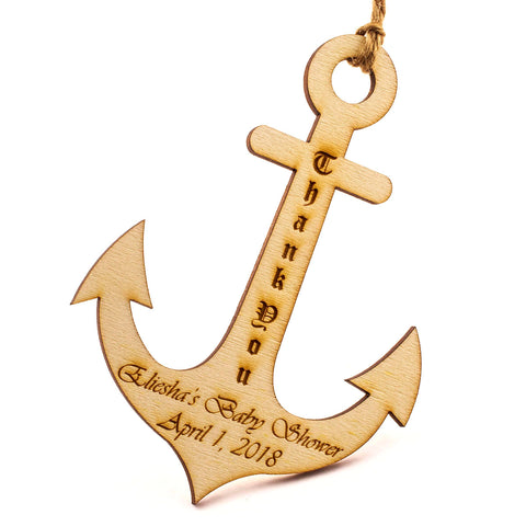 Personalized Natural Wooden Engraved Anchor Baby Shower Favors Tags