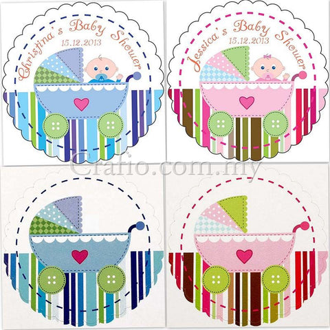 Personalized Baby Pram Baby Shower Sticker