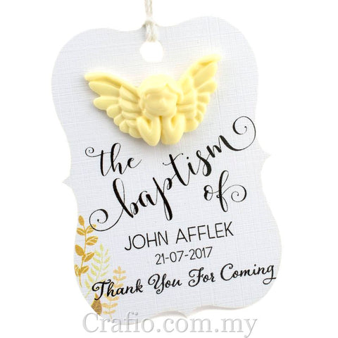 Personalized White Angel Little Violin Baptism Gift Tag