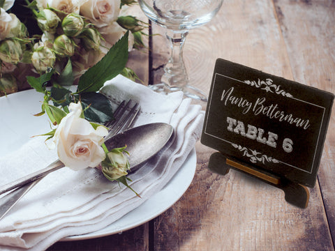 Personalized White Ink Printing Chalkboard Wedding Place Cards with Easels