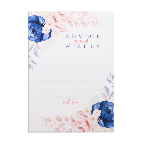 Blue Floral Design Wedding Advice Card - Advice Card for The Bride & Groom