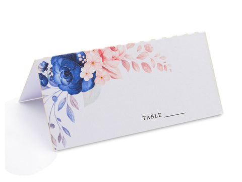 50pcs Blue Floral Wedding Place Cards Escort Cards Seating Cards