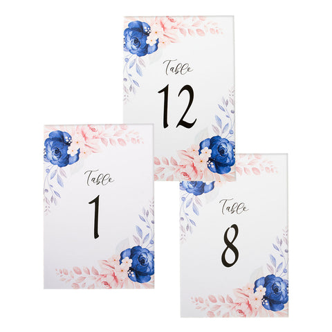 Blue Floral Table Number for Garden Nature Wedding Number 1 to 15