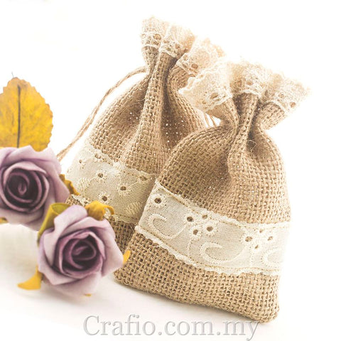 Hessian Burlap Drawstring Bag with Cotton Eyelet Lace Trim