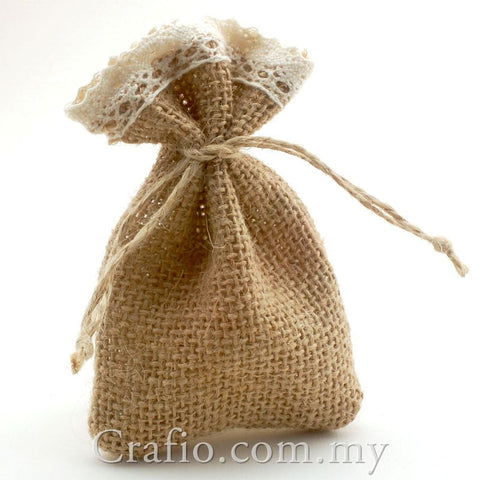 Hessian Burlap Drawstring Bag with Crochet Lace Trim
