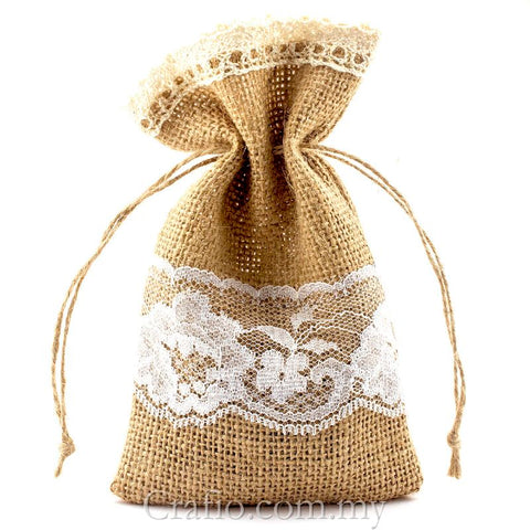 Hessian Burlap Drawstring Bag with Double Lace Border