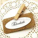 Personalized Burlap Place Card - Rectangle