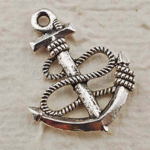 Tibetan Silver Anchor with Rope Charm Pendant