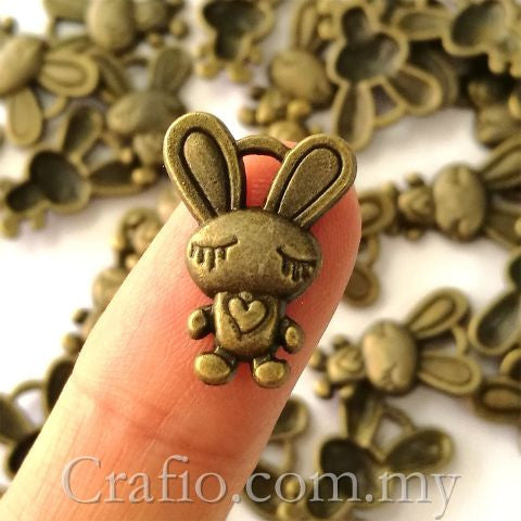 Tibetan Antique Bronze Bunny Rabbit Charm Pendant