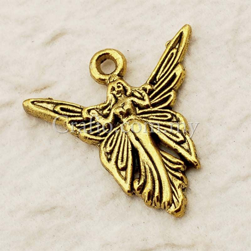 Tibetan Antique Gold Fairy Charm Pendant