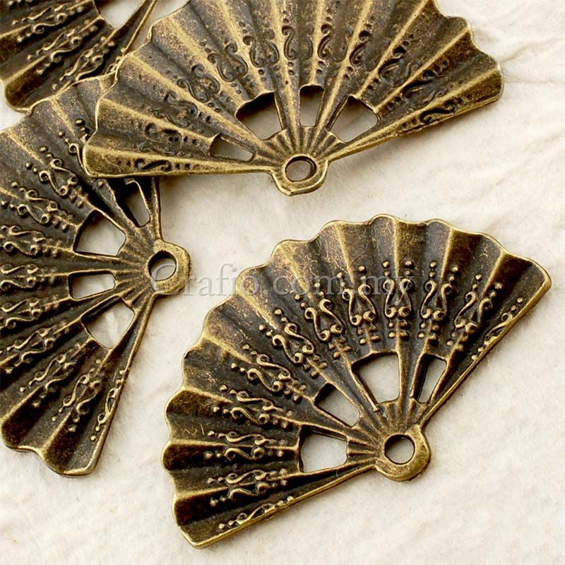 Tibetan Antique Bronze Fan Charm Pendant