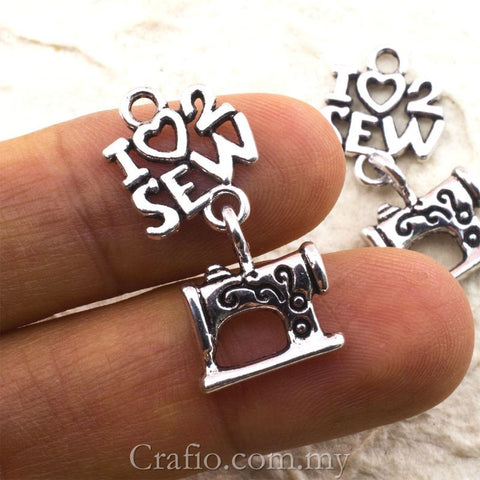 Tibetan Silver I Love to Sew and Sewing Maching Charm Pendant