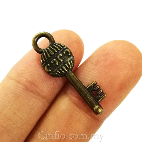 Tibetan Antique Bronze Key Charm Pendant