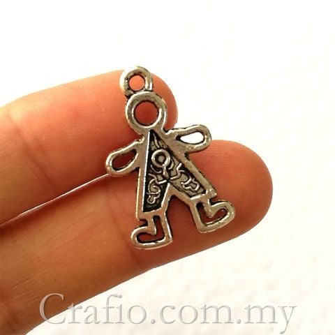 charm middle horseshoe the necklace antique in baby pendant happy charms oxidized boy with sterling silver character little