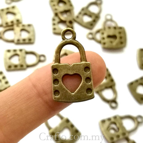 Tibetan Antique Bronze Lock with Heart Charm Pendant