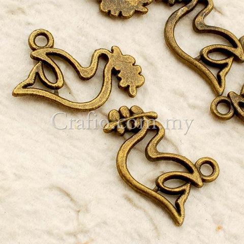 Tibetan Antique Bronze Dove Charm Pendant