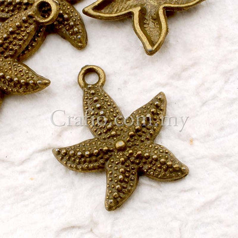 Tibetan Antique Bronze Starfish Charm Pendant