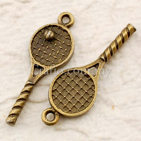 Tibetan Antique Bronze Tennis Racket and Ball Charm Pendant