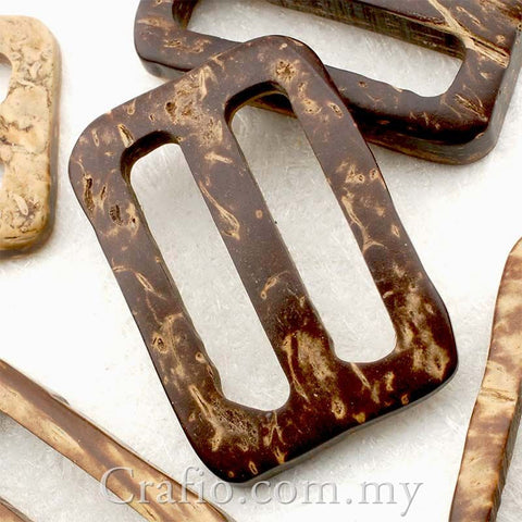 Coconut Shell Buckles - Rectangle