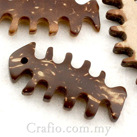 Coconut Shell Buttons - Fish Bone