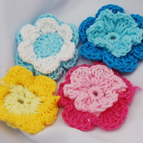 Two Tier Flower Crochet Embellishments