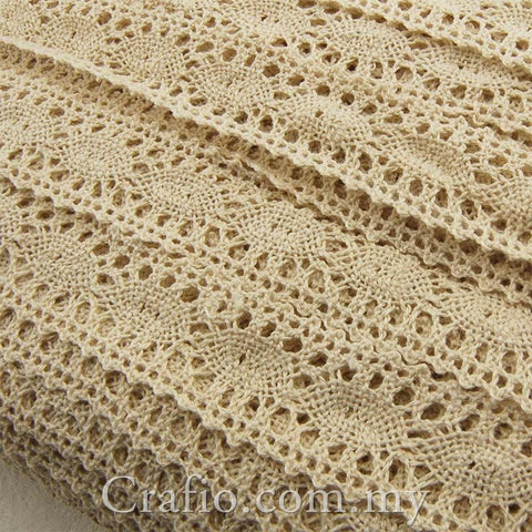 Beige Cotton Crochet Lace Trim Fabric Embellishment