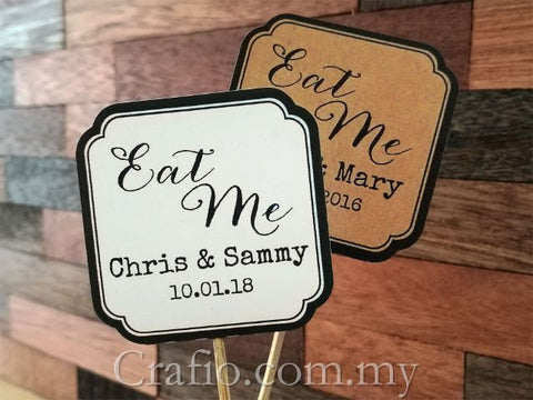 "Personalized Double Sided Wedding Cupcake Toppers ""Eat Me"""
