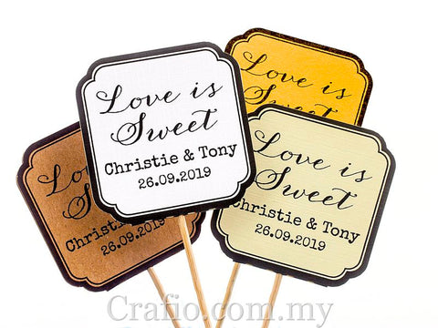 "Personalized Double Sided Wedding Cupcake Toppers ""Love is Sweet"""