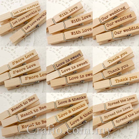 Wooden Pegs with Love Themed Engravings