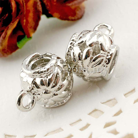 Center Threaded Spacer Bead Flower Sphere with Loop