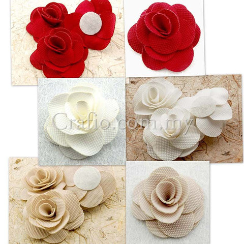 60 mm Fabric Roses - 6 pieces