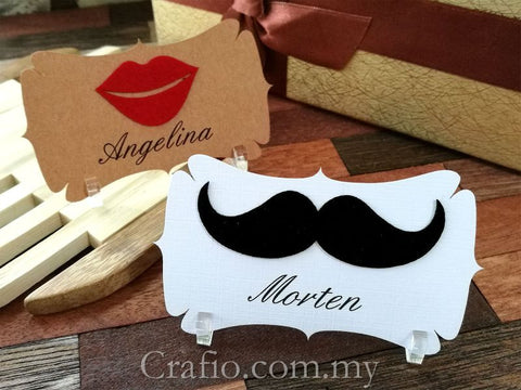 Personalized Felt Mustache and Lips Place Card