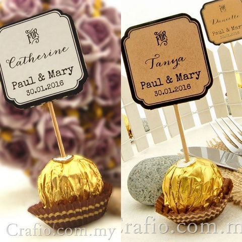 "Personalized Double Sided Wedding Cupcake Toppers ""For"""