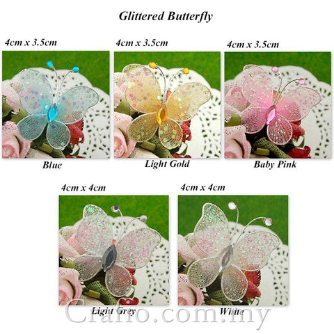 4 cm Stocking Butterflies with Glitter