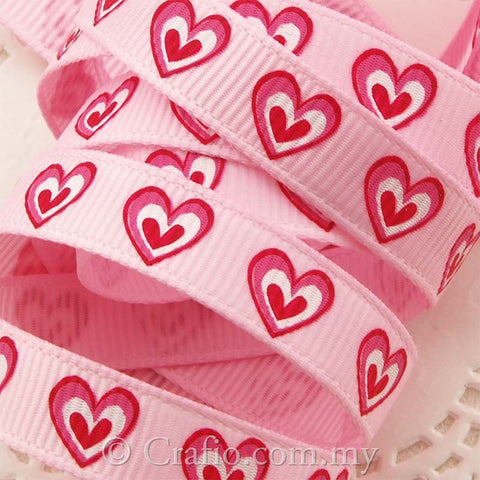 10 mm Cheerful Heart Printed Grosgrain Ribbon