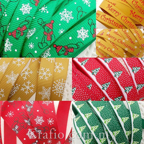 10 mm & 16 mm Christmas Printed Grosgrain Ribbon