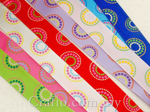 16 mm Circle Mania Printed Grosgrain Ribbon