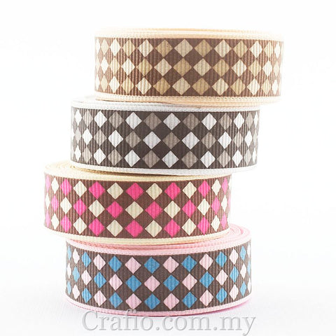 10 mm, 16 mm, 25 mm & 38 mm Argyle Printed Grosgrain Ribbon