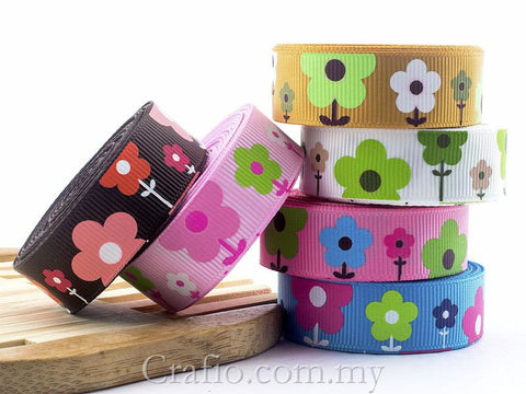 16 mm Cute Flower Printed Grosgrain Ribbon