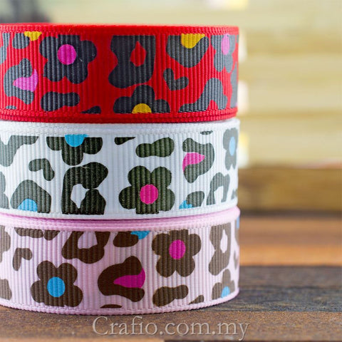 10 mm 16 mm & 38 mm Leopard Print Flower Printed Grosgrain Ribbon
