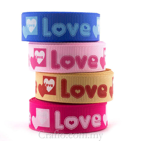 16 mm Love & Heart Printed Grosgrain Ribbon