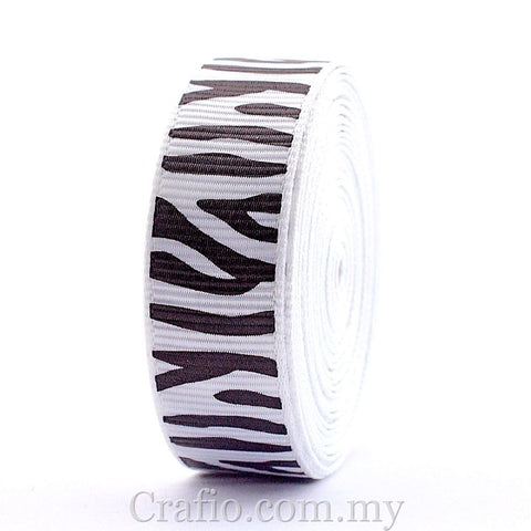 16 mm Zebra Stripe Printed Grosgrain Ribbon